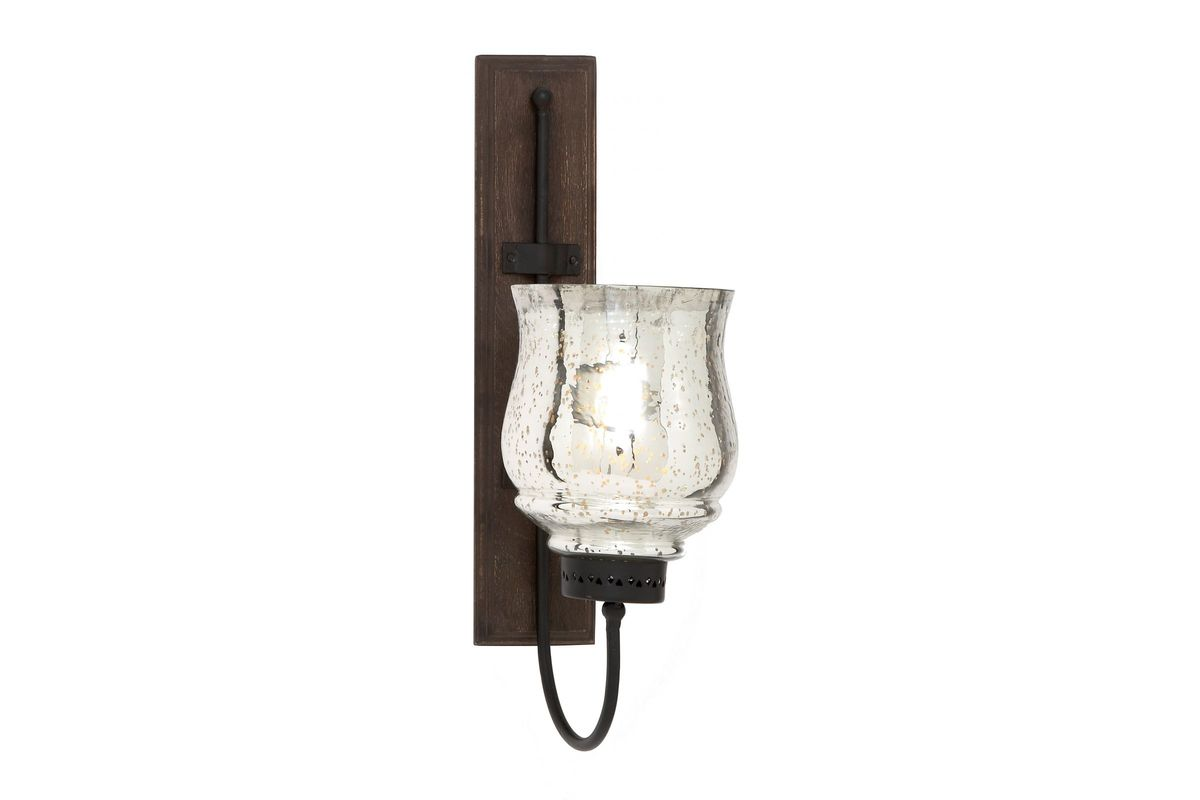 Updated Traditional Wrought Iron Flared Top Hurricane Wall Sconce