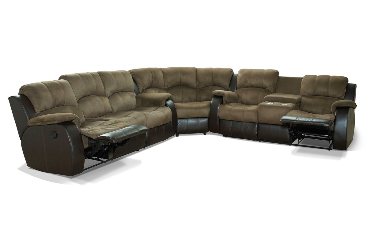 Recliner sectional southern motion avalon sectional space for Brighton taupe 3 piece chaise and sofa set