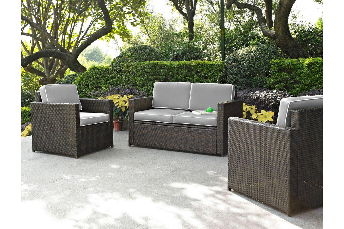 Palm Harbor Wicker Loveseat Chairs In Grey By Crosley