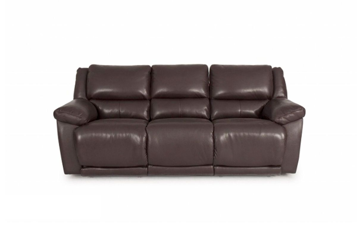 Leather Power Reclining Sofa Brown Leather Power