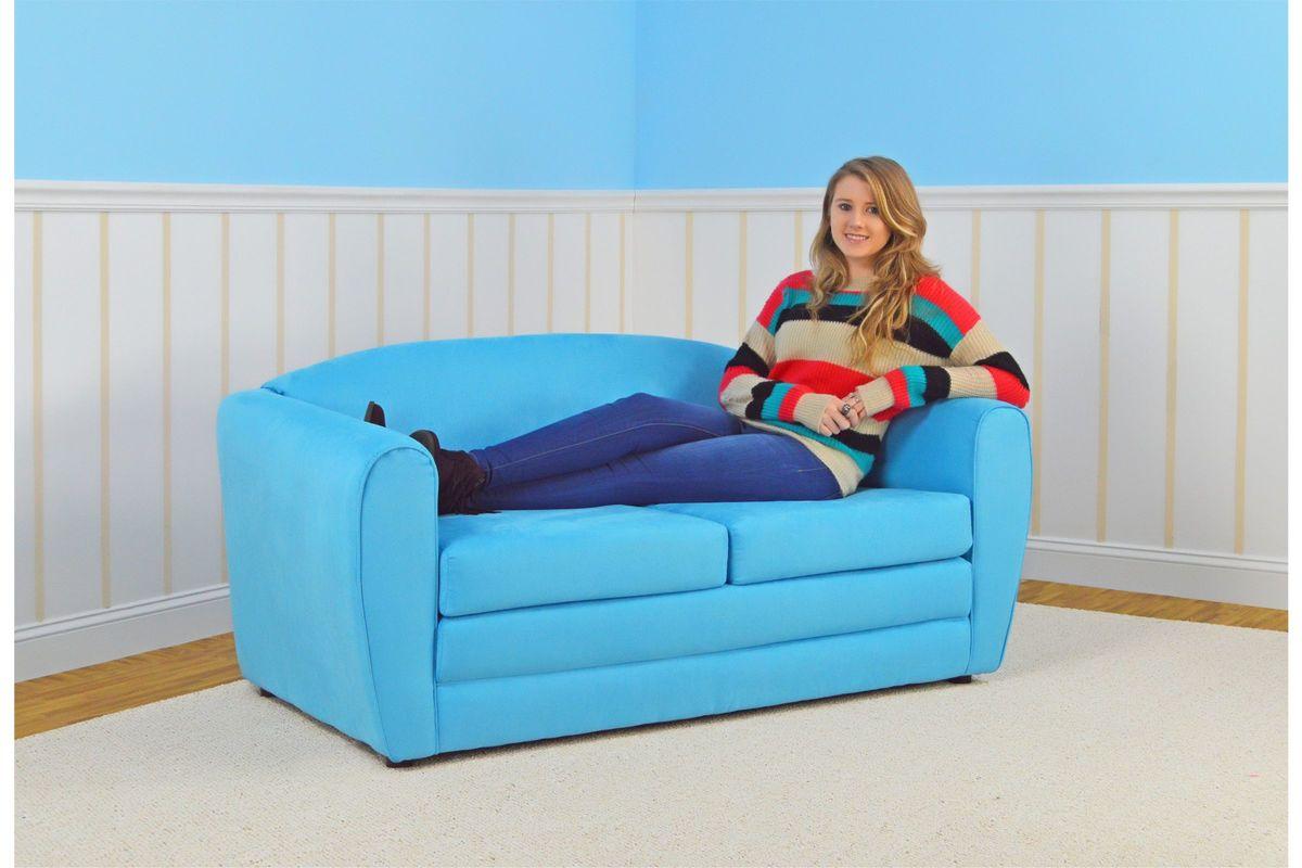 Tween Sleeper Sofa In Sky Blue By Kangaroo Trading Co