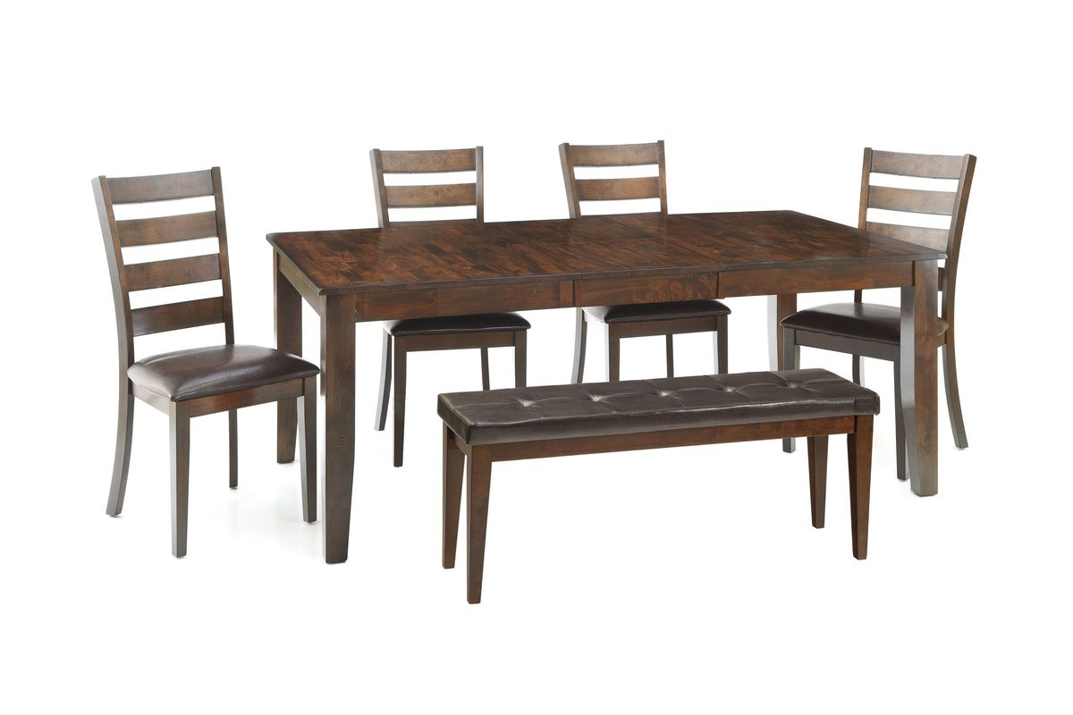 Kona Table with 4 Side Chairs + Bench at Gardner-White