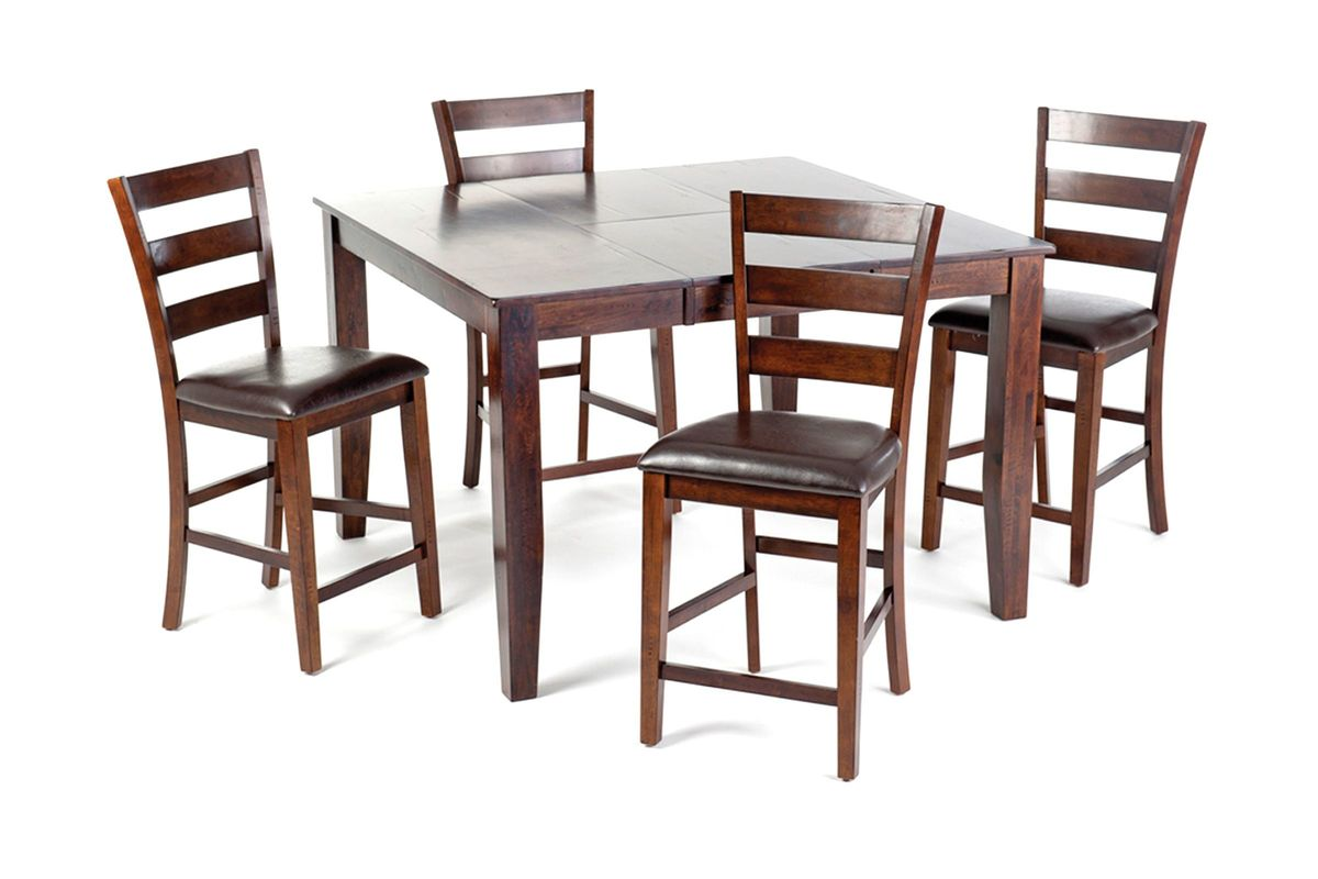 Kona gathering table 6 bar stools at gardner white for Furniture 60 months no interest