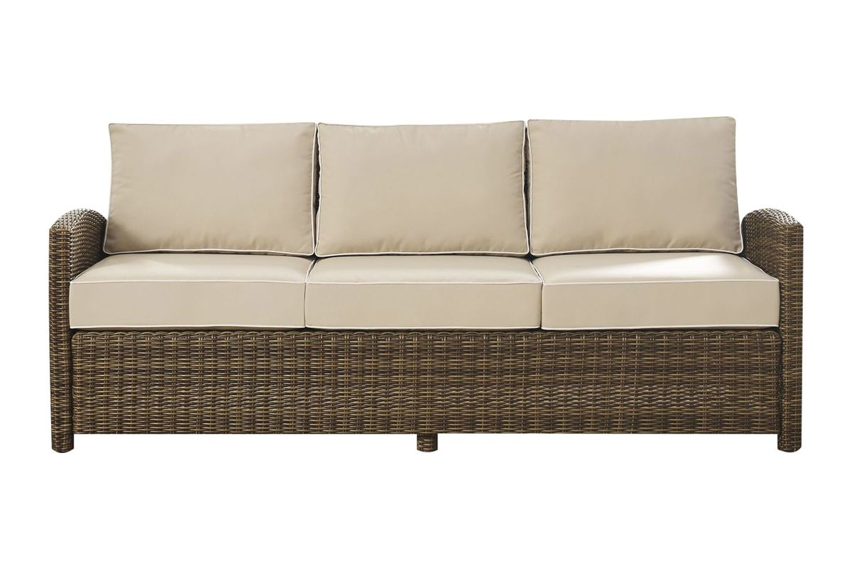 Bradenton Sofa With Sand Cushions In Weathered Brown By