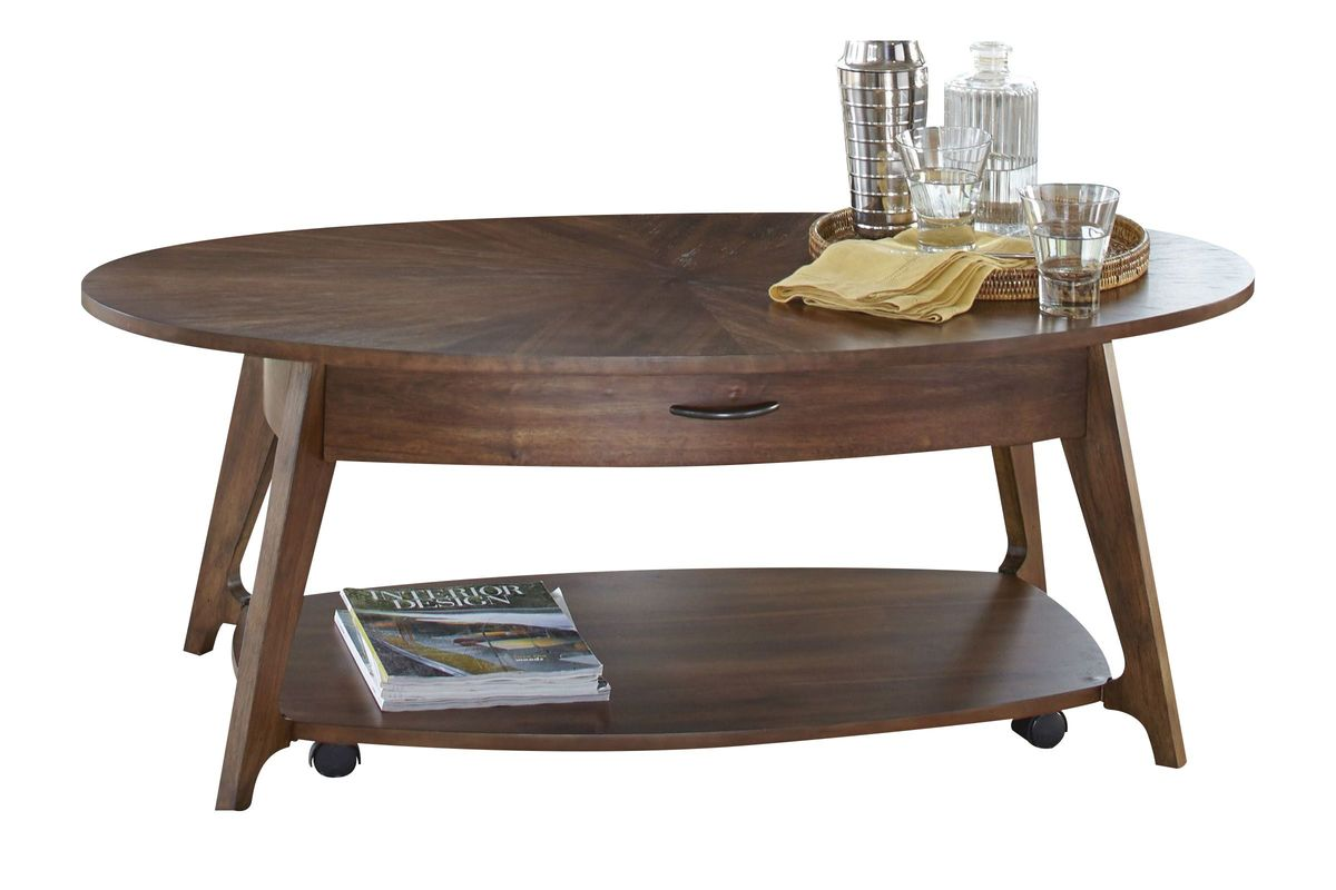 Oval Cocktail Table With Casters At Gardner White