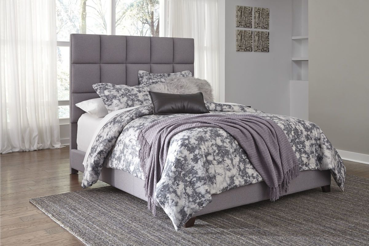 Dolante Queen Upholstered Bed in Grey by Ashley from Gardner-White Furniture
