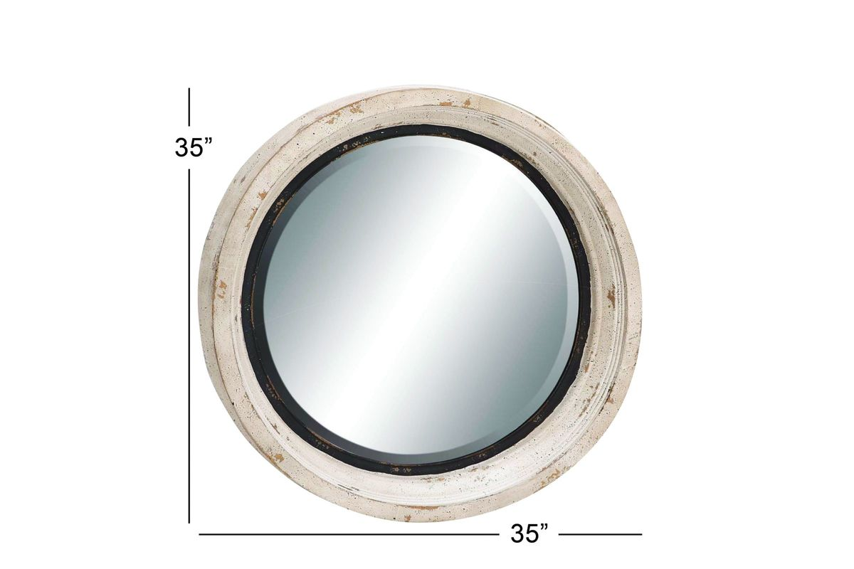 Farmhouse rustic 35 round distressed wall mirror in for White round wall mirror