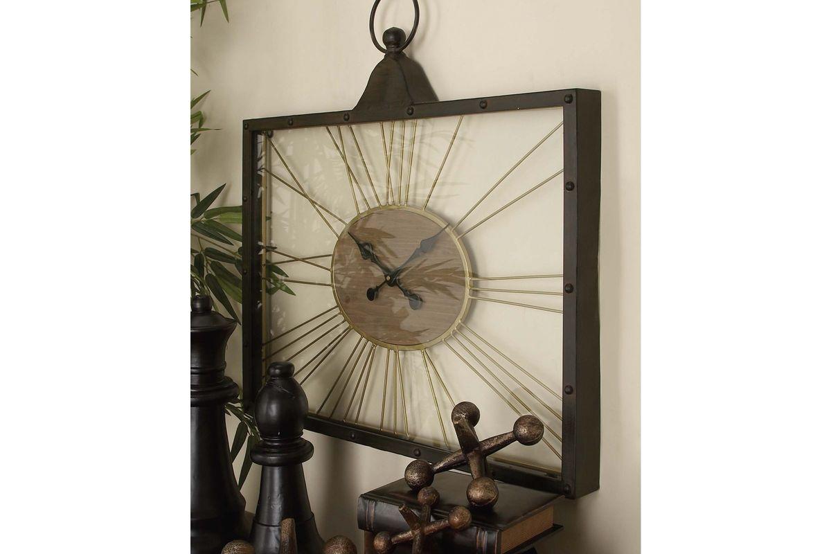 Rustic reflections rectangular spoke wall clock by uma share amipublicfo Gallery