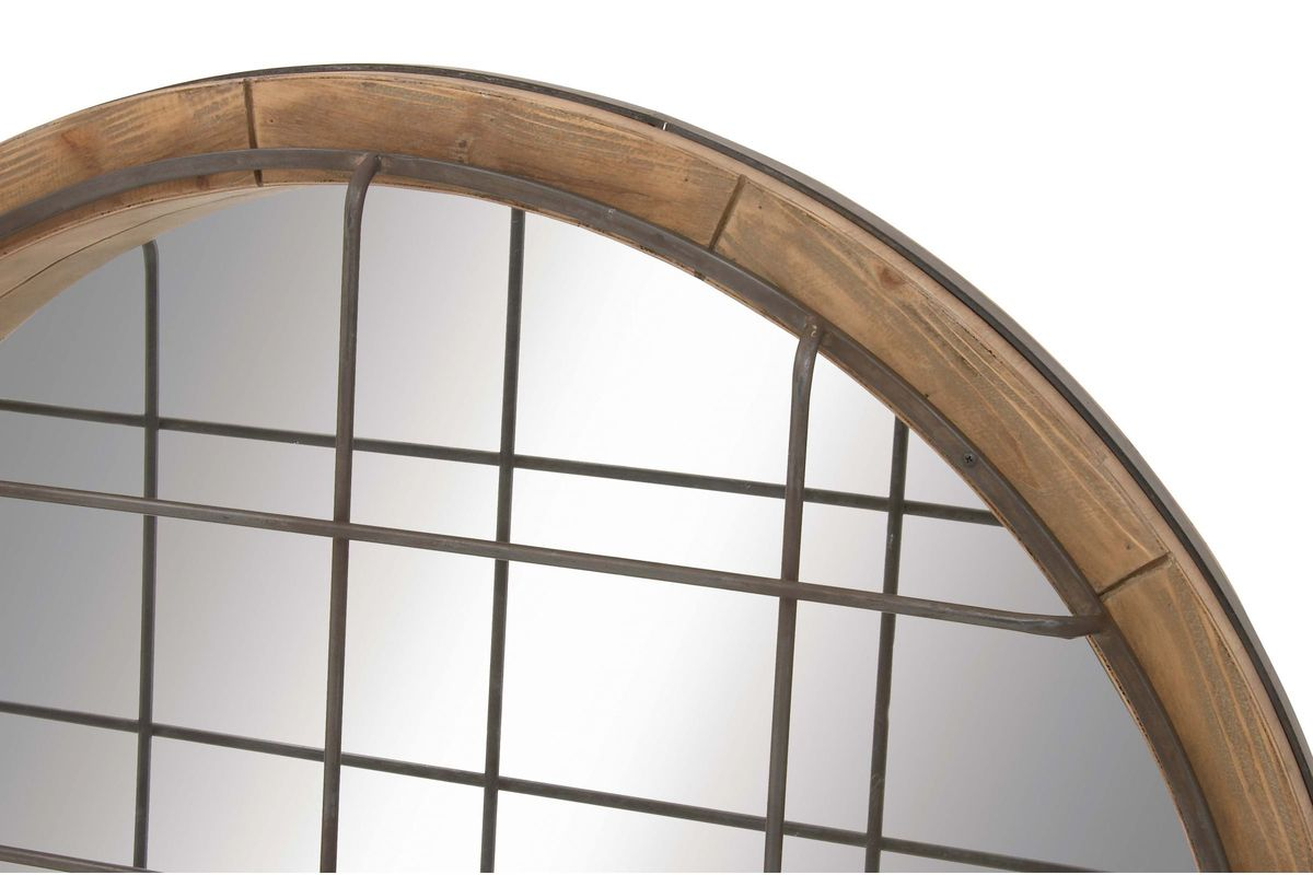 Farmhouse Rustic 48 Quot Round Wire Cage Wall Mirror By Uma