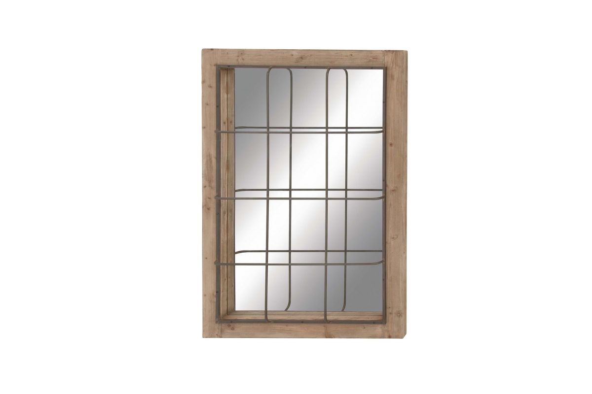 """Farmhouse Rustic 52"""" Rectangular Wire Cage Wall Mirror By UMA"""