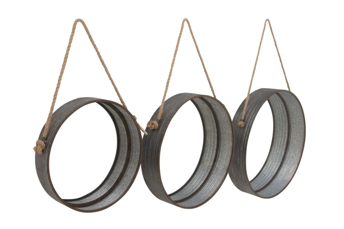 Modern Reflections Round Metal Rope Hanging Wall Mirrors Set Of 3 By Uma From