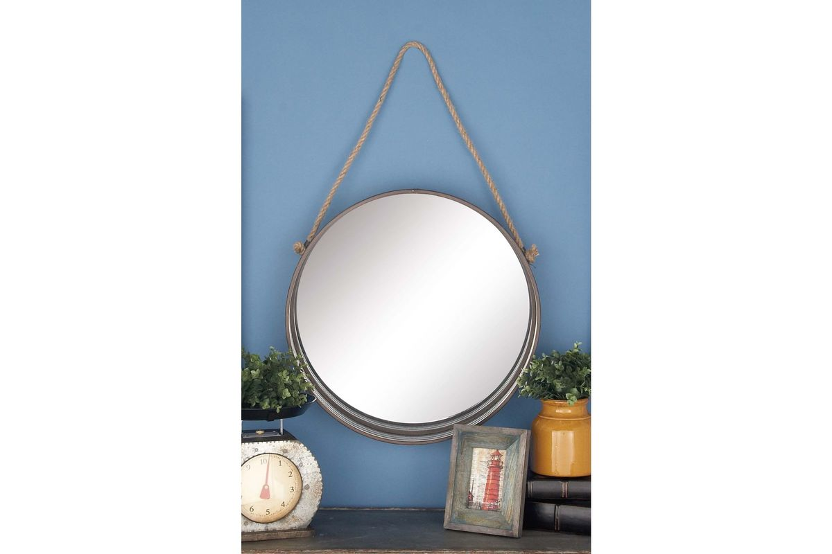 Modern Reflections Round Metal Rope Hanging Wall Mirrors