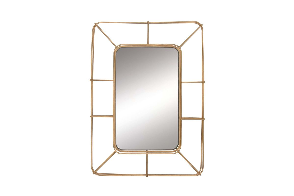 Modern Reflections Rounded Rectangular Iron Grid Wall
