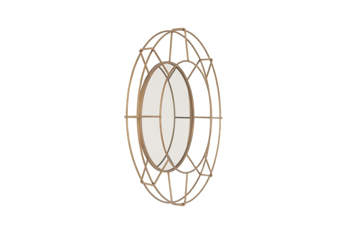 Modern Reflections Round Iron Grid Wall Mirror In Gold By UMA