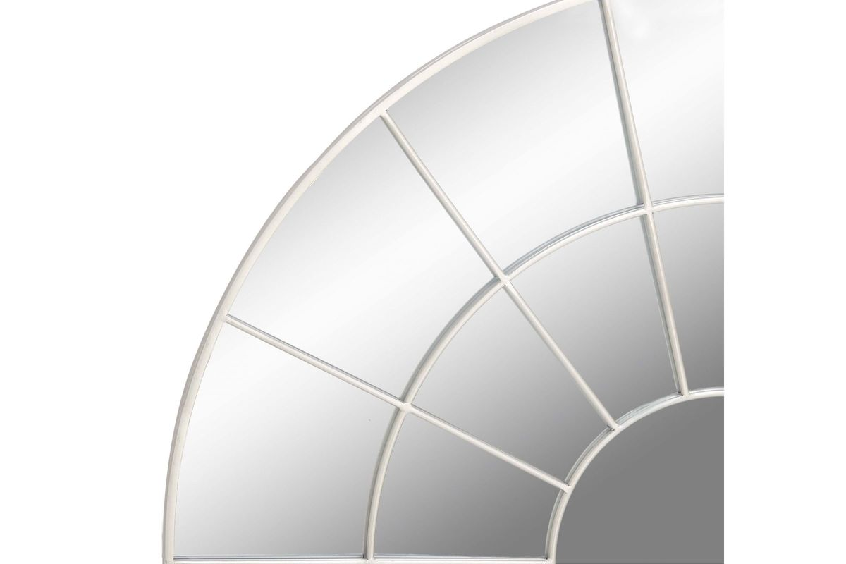 Modern Reflections Round Geometric Paneled Wall Mirror In