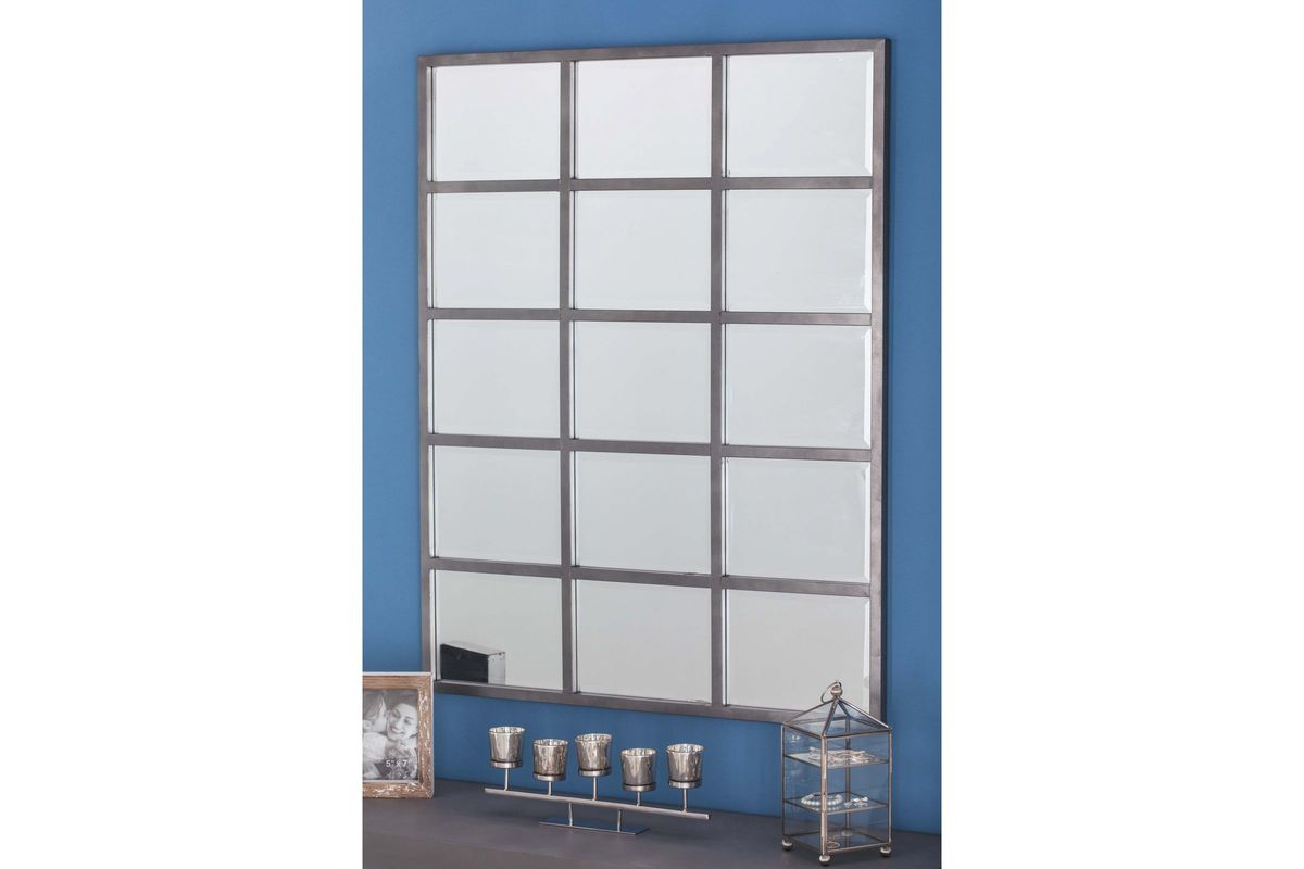 Modern reflections 44 15 panel rectangular wall mirror in for Long grey wall mirror