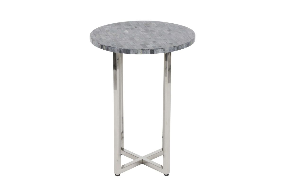 Modern Reflections Round Marble Accent Table In Dark Grey By UMA - White marble and metal round accent table