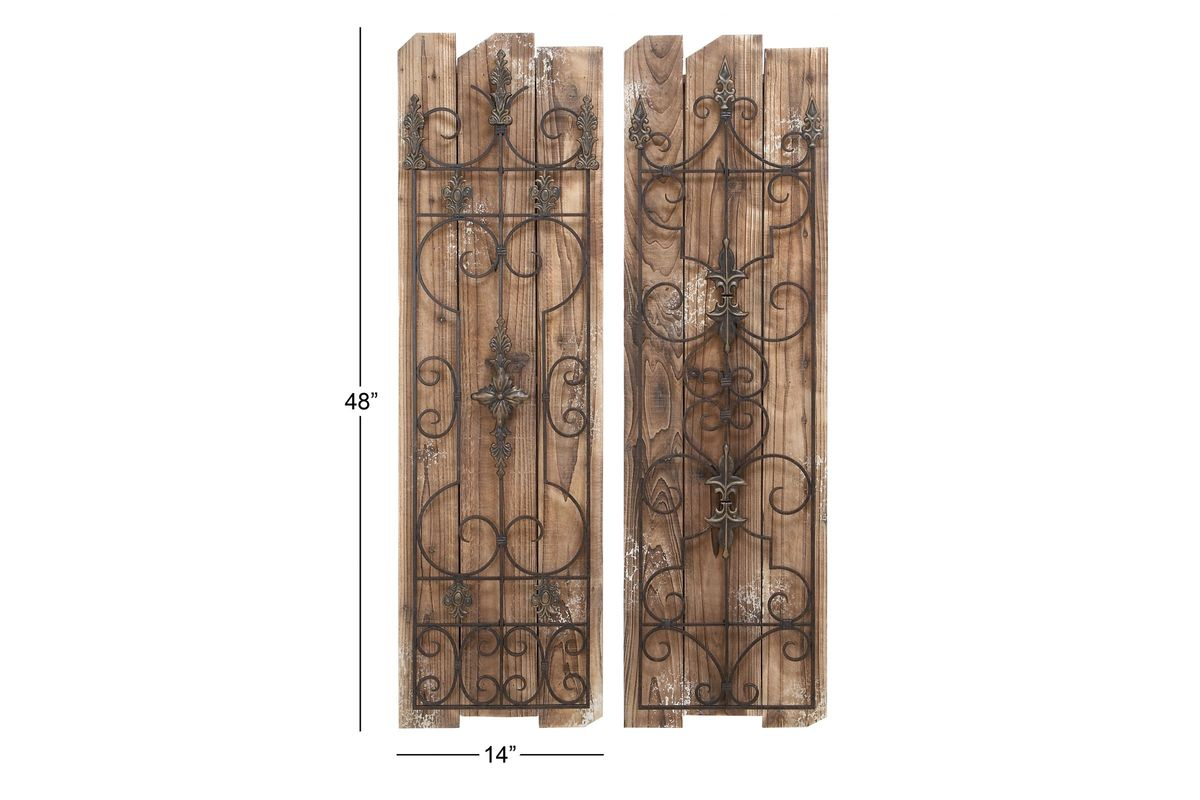 French Inspired Wrought Iron Wall Panel (Set Of 2) At