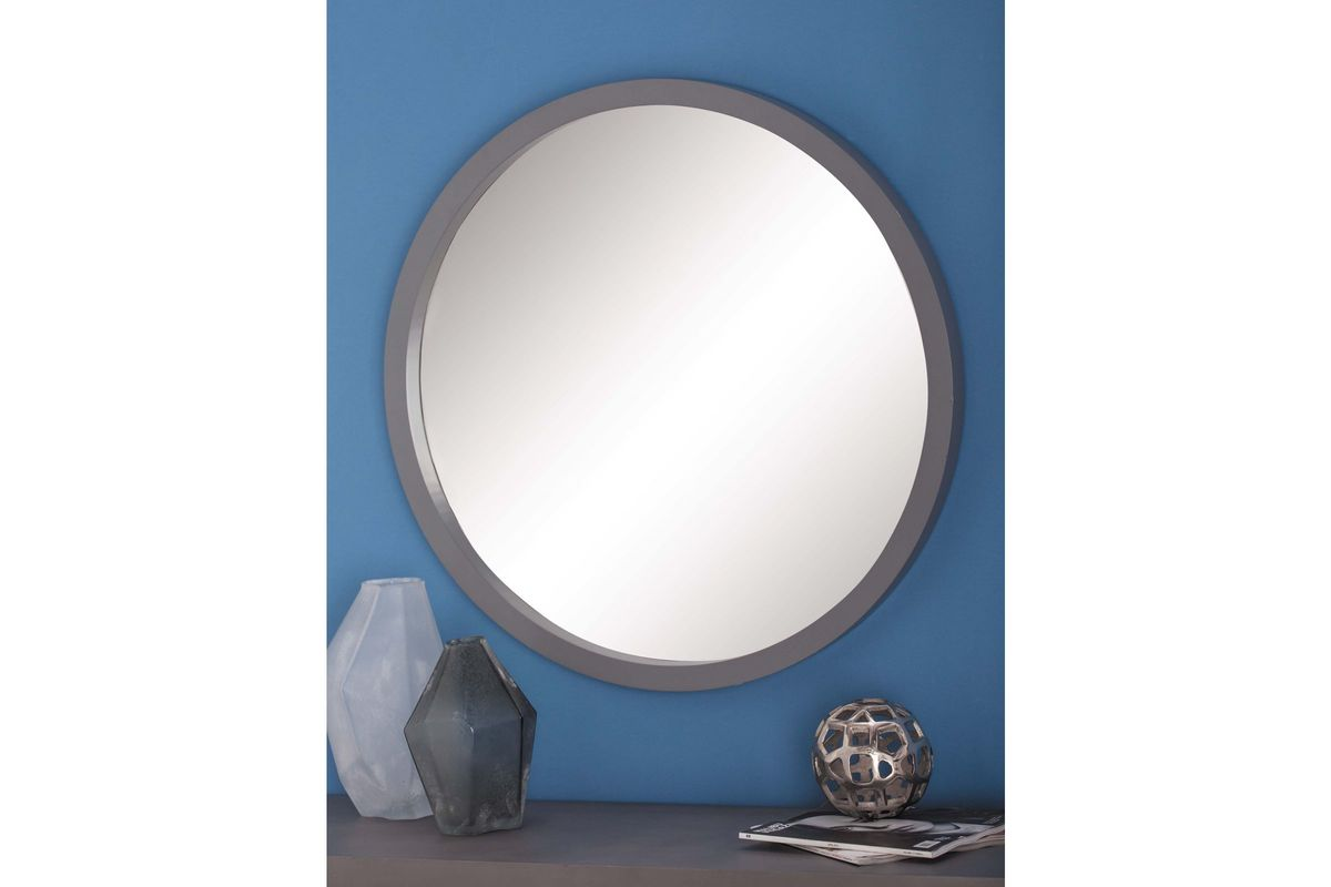 Modern reflections 32 round wall mirror in matte grey by uma for White round wall mirror