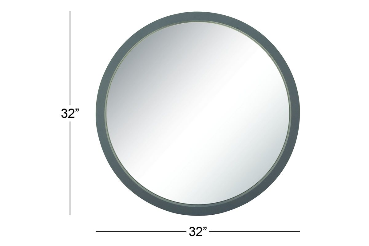 Modern reflections 32 round wall mirror in matte grey by uma Modern round mirror
