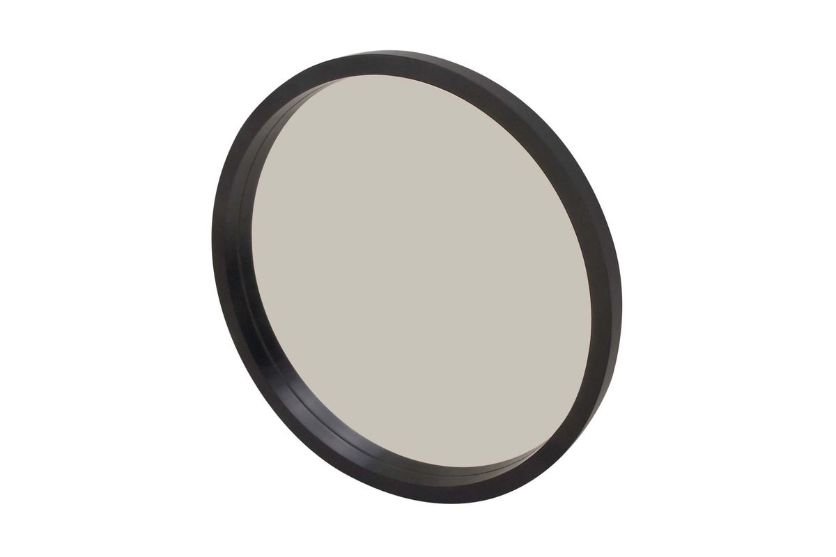 Modern reflections 32 round wall mirror in matte black by uma for Round black wall mirror