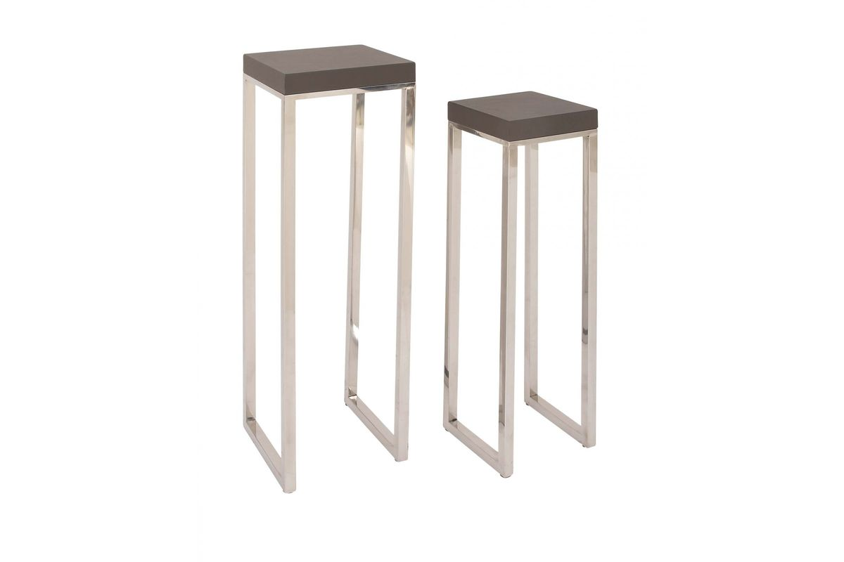 Modern Reflections Leather Pedestal Side Tables (Set Of 2) In Grey From  Gardner