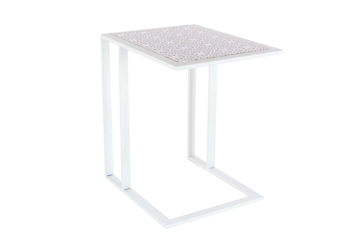 outlet store 3873e 80ebc Modern Reflections Rectangular L-Shaped Side Table in White