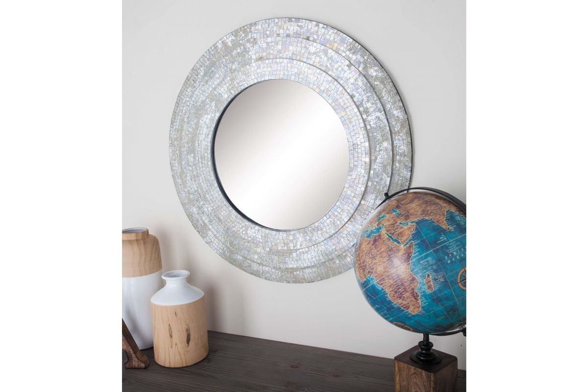 Modern reflections 30 round mosaic wall mirror in for White round wall mirror