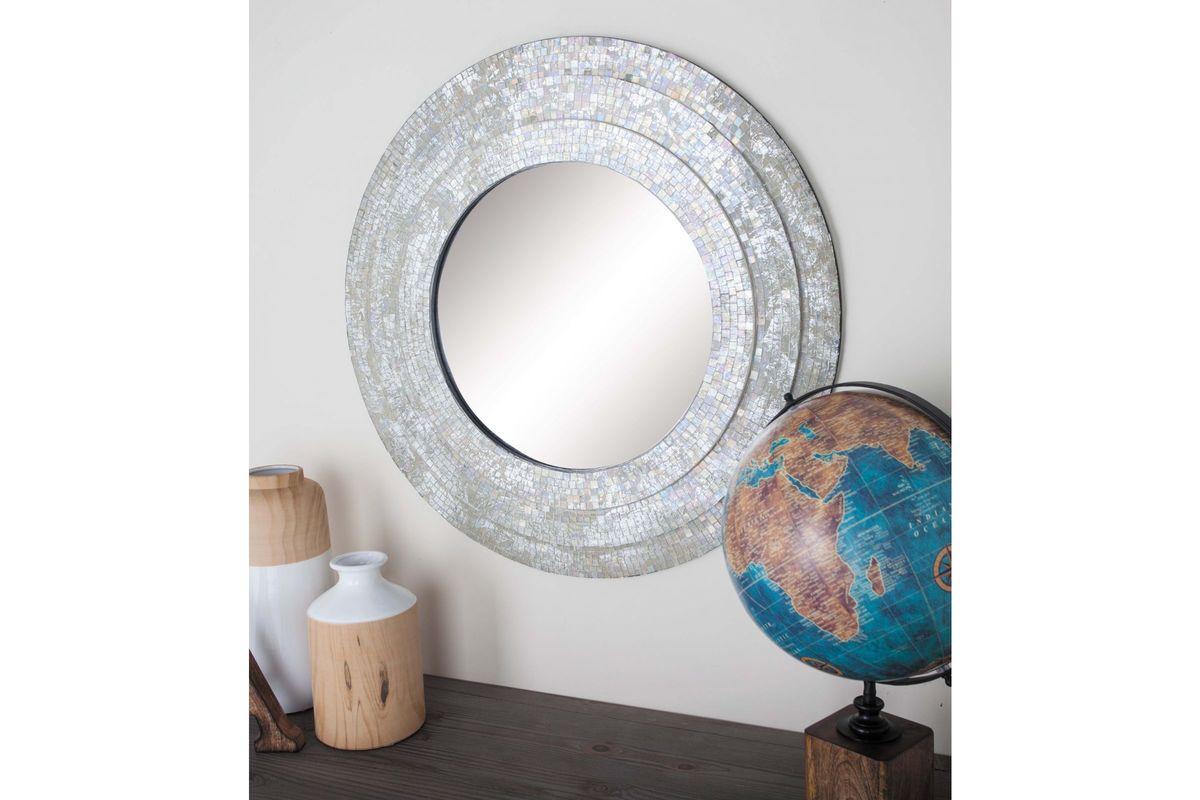 Modern reflections 30 round mosaic wall mirror in Modern round mirror