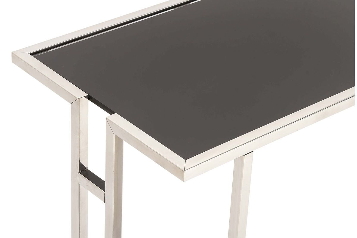 Modern Reflections L Shaped Accent Table In Black Silver