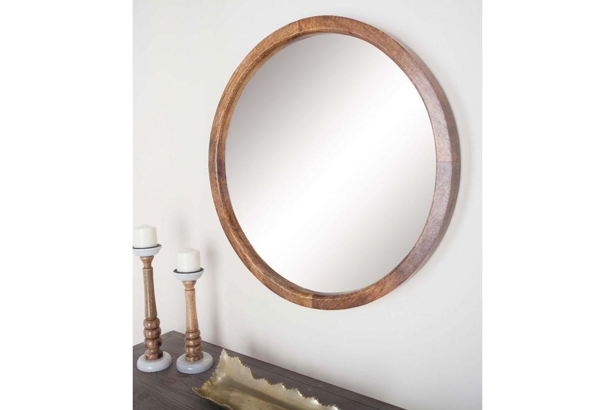 Modern reflections 30 round wood wall mirror in natural Modern round mirror