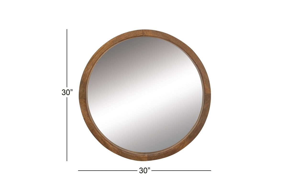 Modern Reflections 30 Quot Round Wood Wall Mirror In Natural