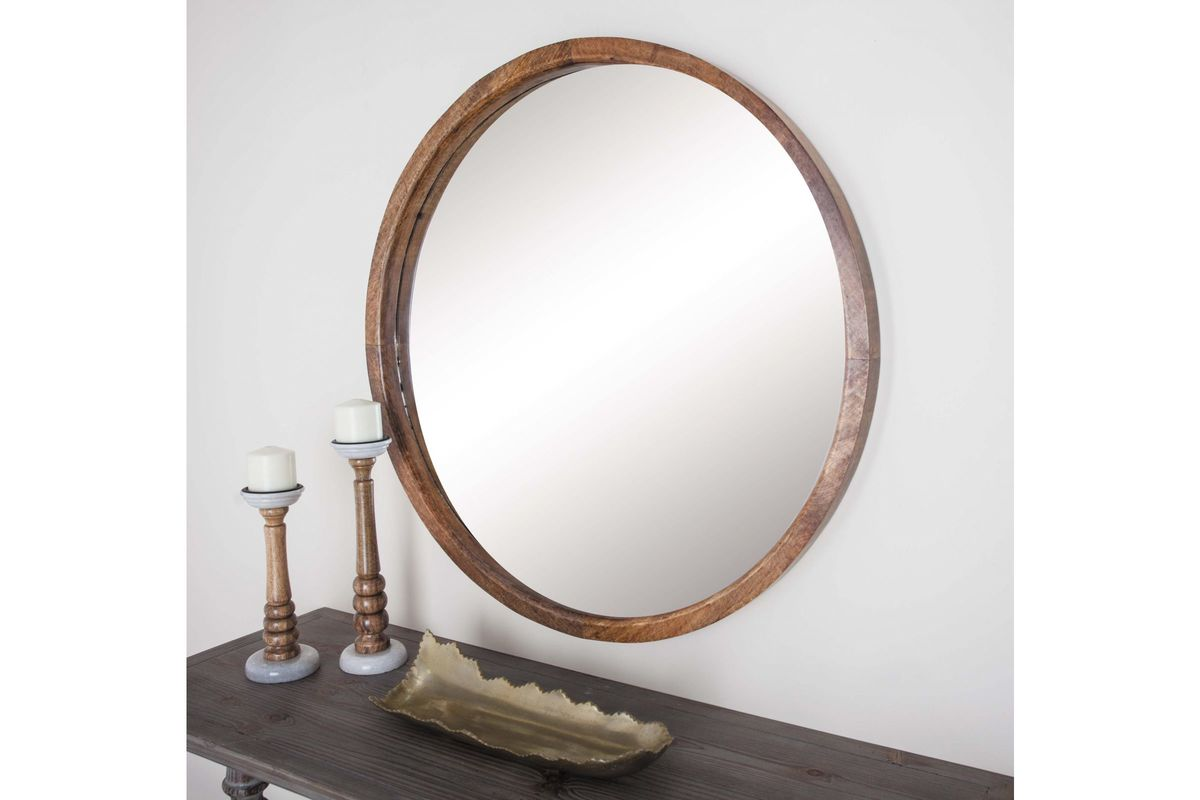 Modern reflections 36 round wall mirror in natural by uma for Round wall mirror