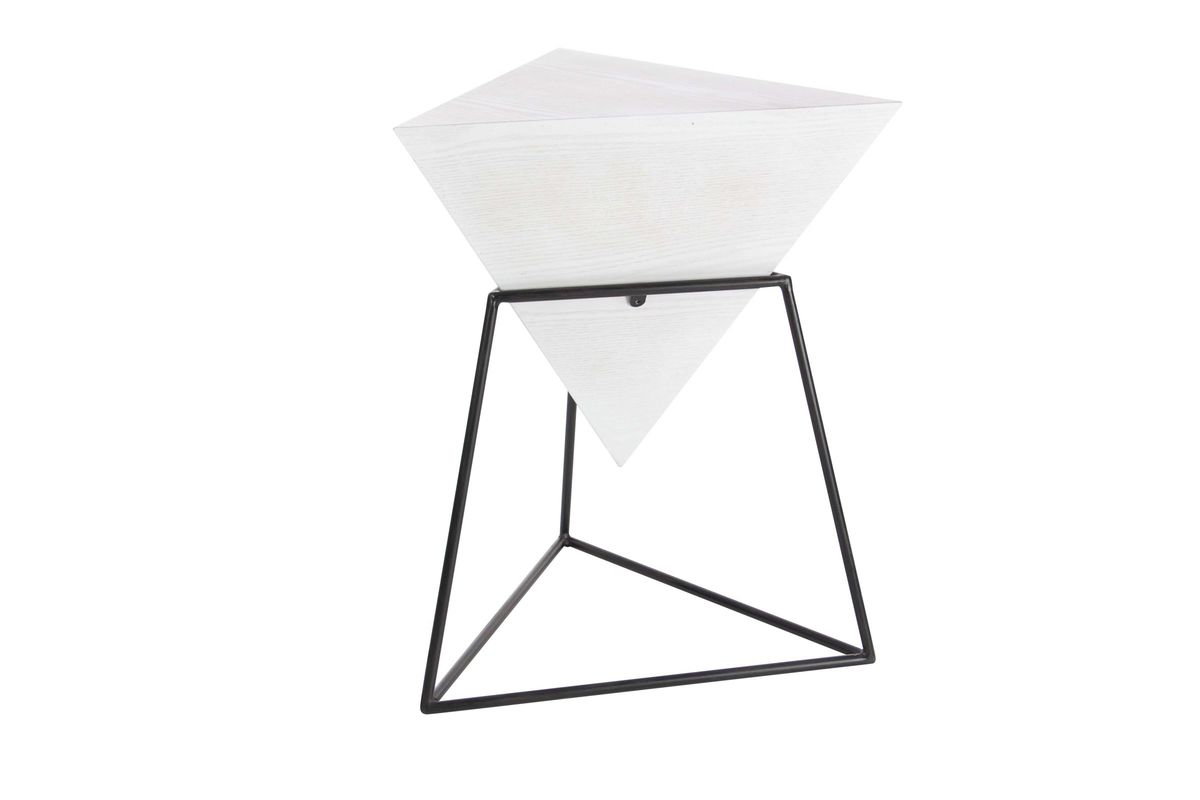 Modern Reflections Triangle Accent Table In Matte WhiteBlack - Black triangle end table