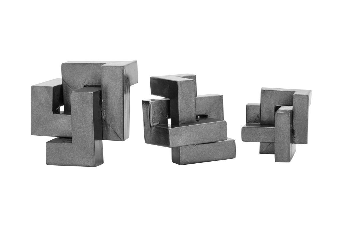 Modern Reflections Geometric Sculptures (Set of 3) in Metallic Grey from Gardner-White Furniture