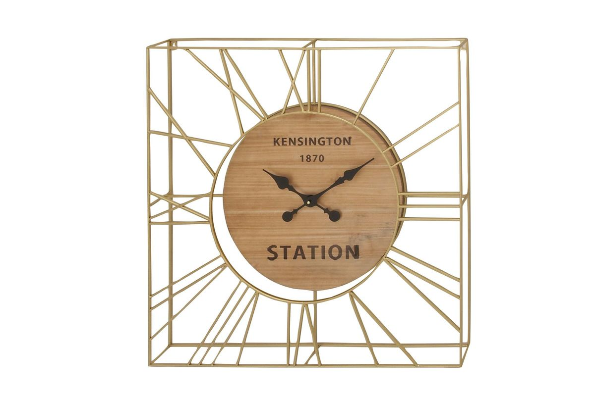Modern Reflections 31 Quot Square Gold Finished Iron Wall Clock