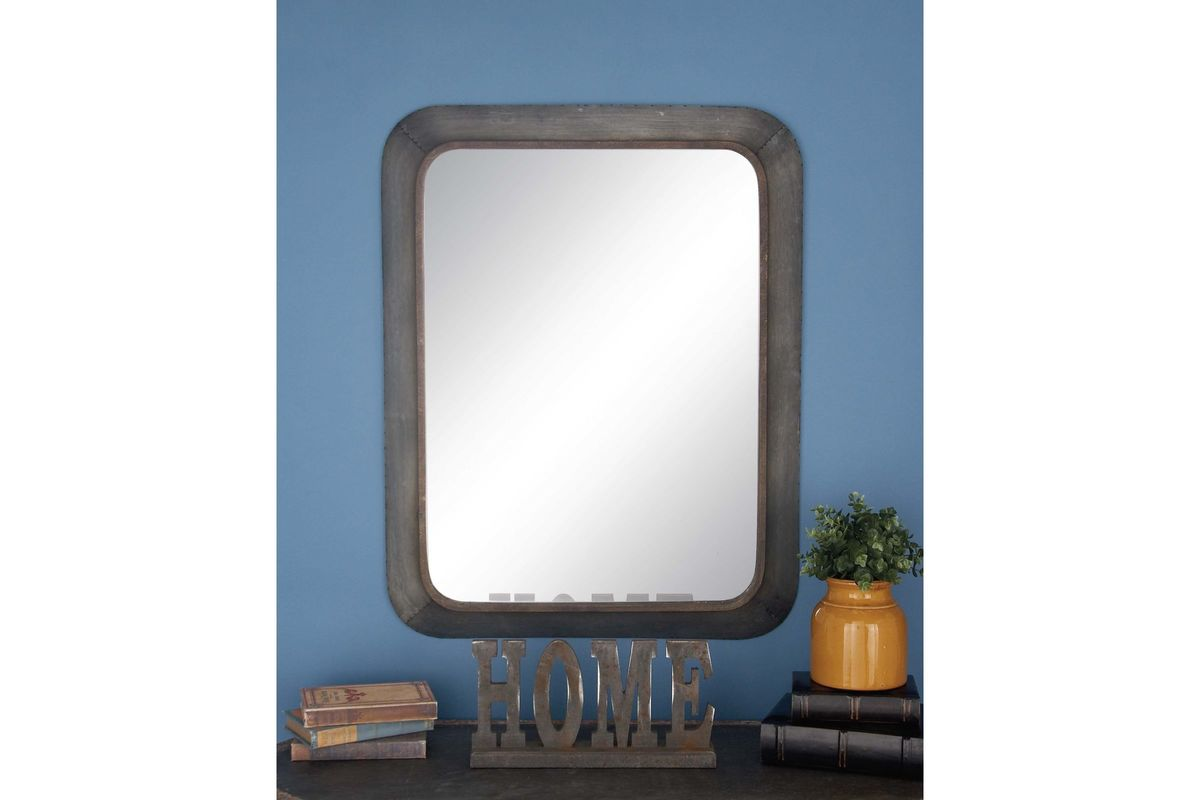 Rustic reflections rounded rectangular distressed wall for Long grey wall mirror