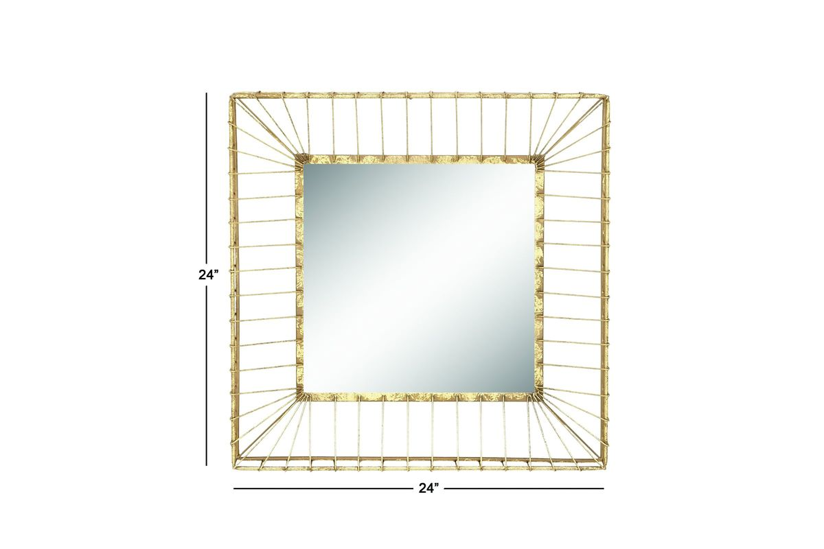 Gold Metal Wall Mirror: Modern Reflections Square Metal Wall Mirror In Gold By UMA