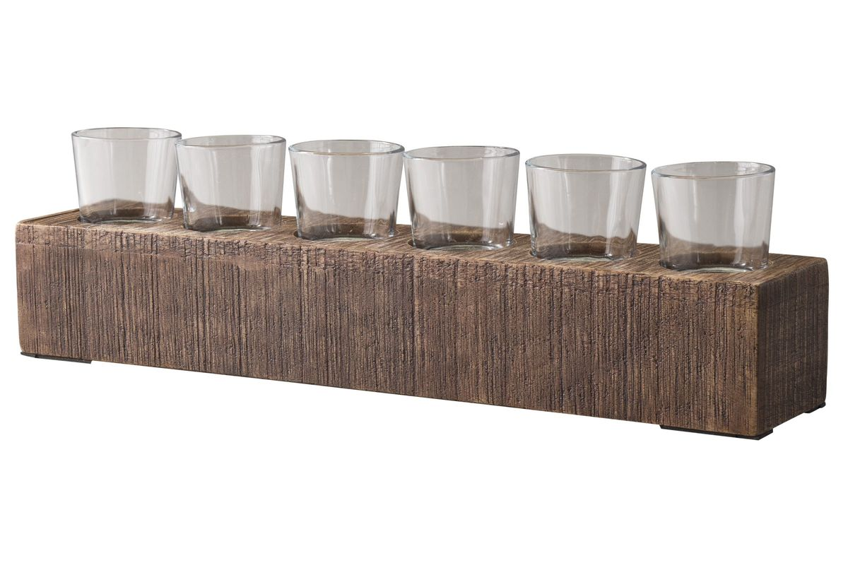 Cassandra Candle Holder in Brown by Ashley from Gardner-White Furniture