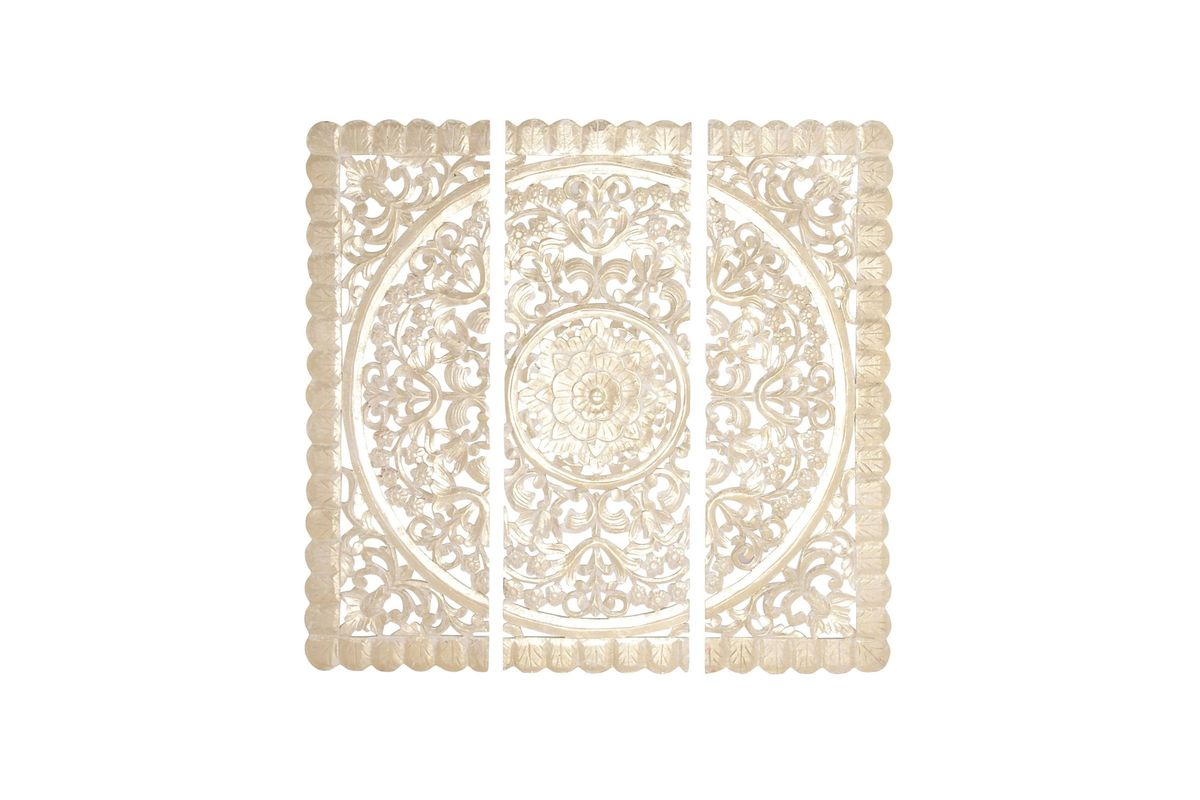 Classic Elegance Floral Wall Panels (Set of 3) in Ivory from Gardner-White Furniture
