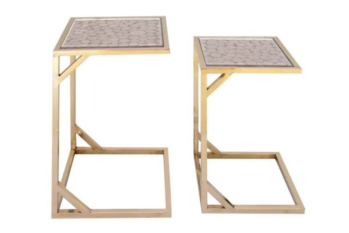 Modern Reflections L Shaped Accent Tables Set Of 2 In Brown