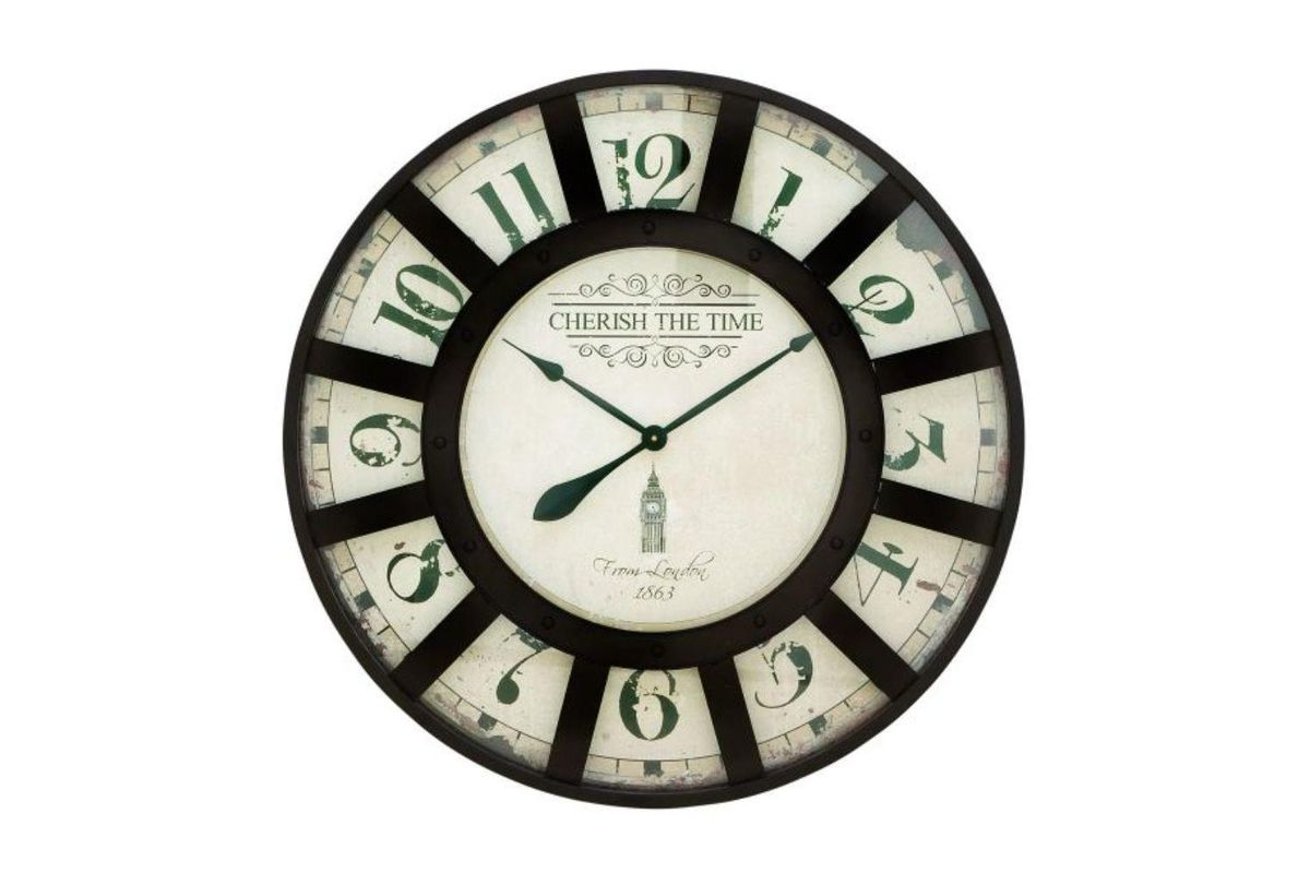 Vintage Reflections Round Wall Clock with 13-Window Iron Frame