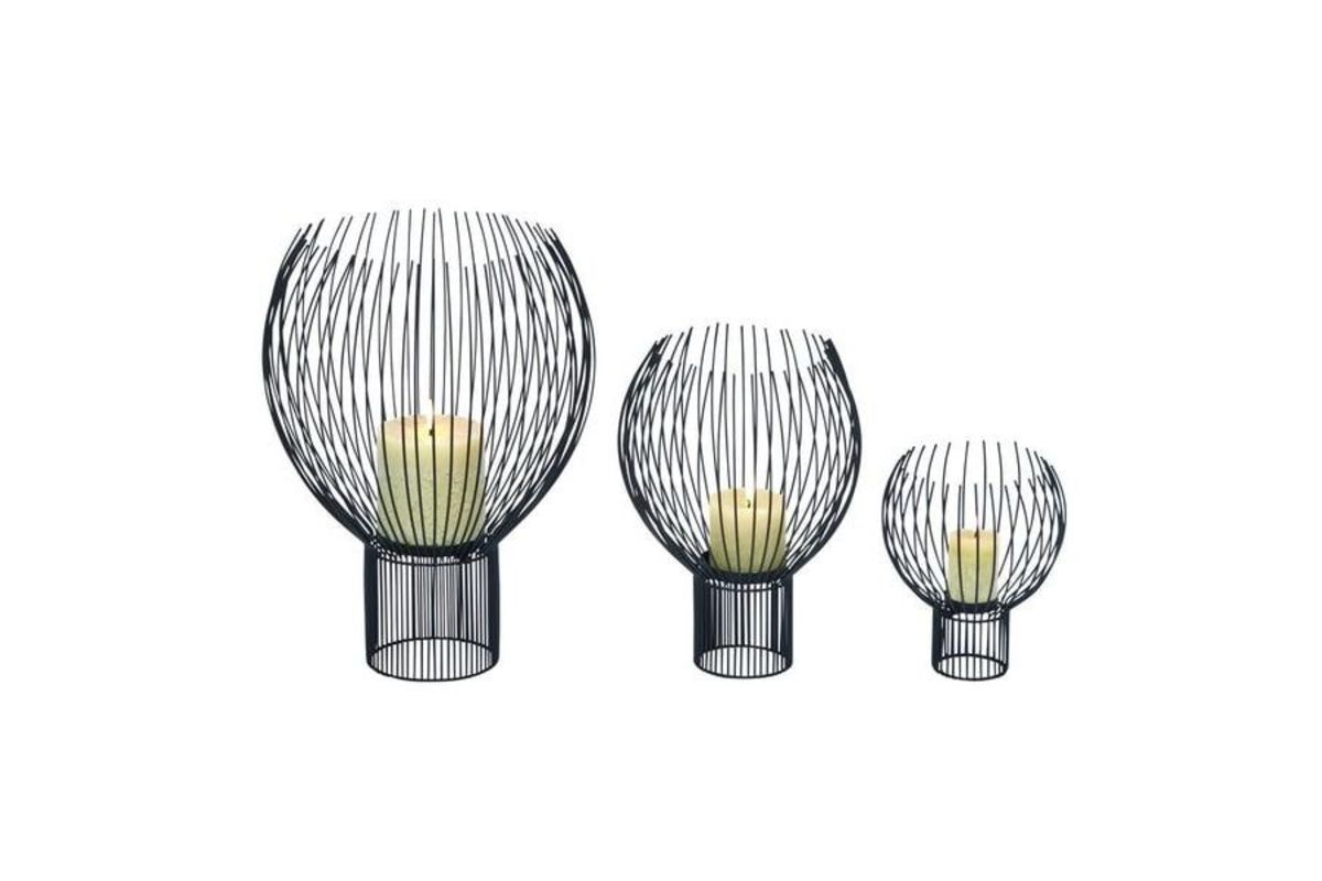 Contemporary Wire Globe Pillar Candle Holders Set Of 3 From Gardner White Furniture