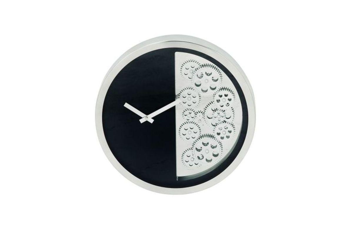 Modern Reflections 16 Stainless Steel Gear Wall Clock In Blacksilver