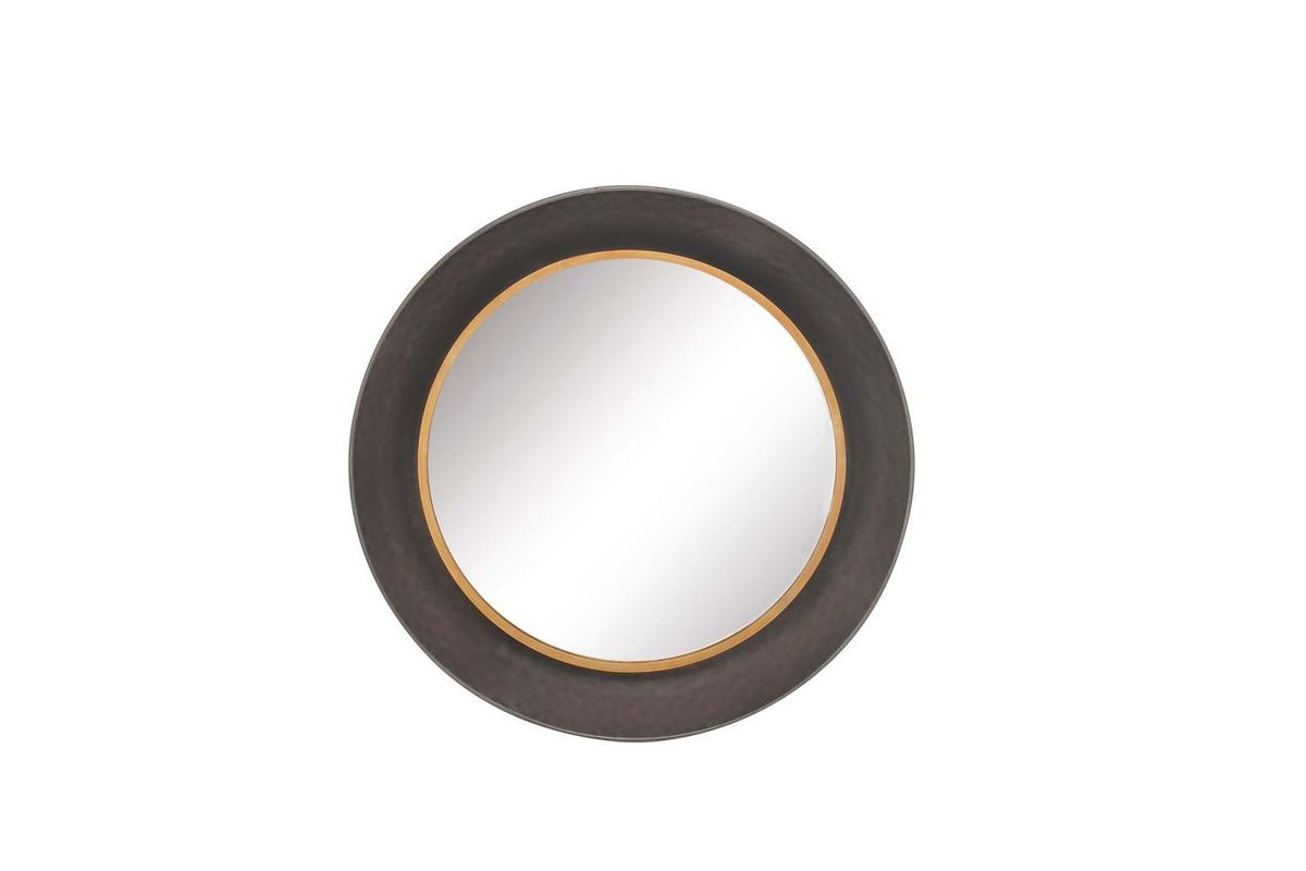 Modern reflections round metal wall mirror in matte black for Round black wall mirror