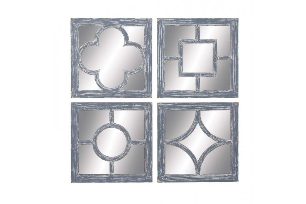 Rustic Distressed Grey Wall Mirrors Set Of 4 With Shapes By Uma