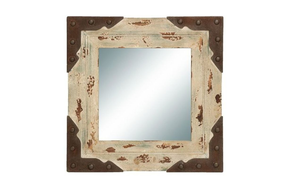 Rustic 24 Angled Square Illusion Wall Mirror With Rust Finished