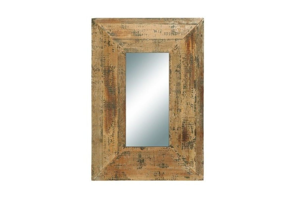 Rustic Wide Framed Wall Mirror In Distressed Golden Oak By Uma From Gardner White Furniture