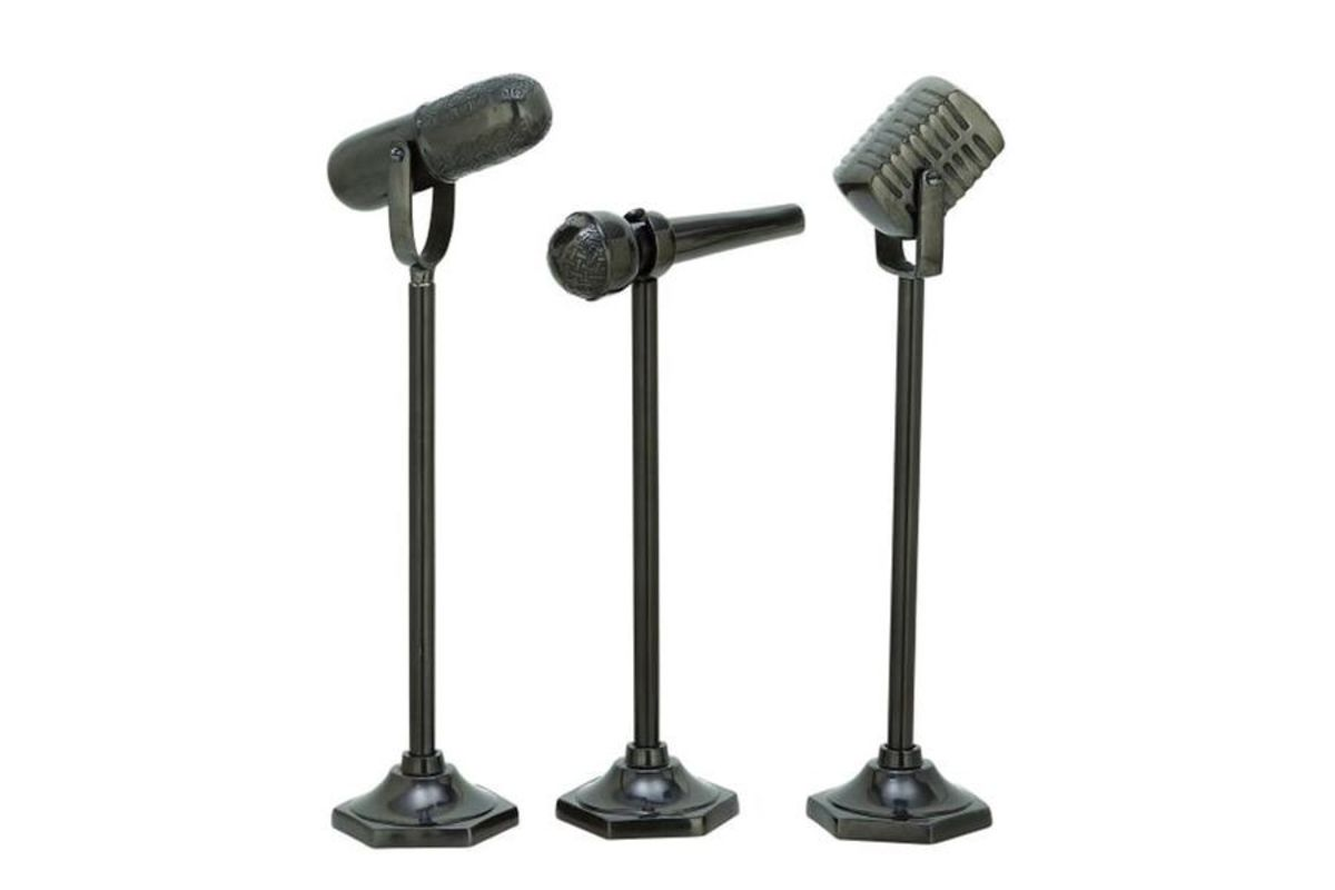 Modern Reflections Microphone Sculptures (Set of 3) in Gun Metal from Gardner-White Furniture