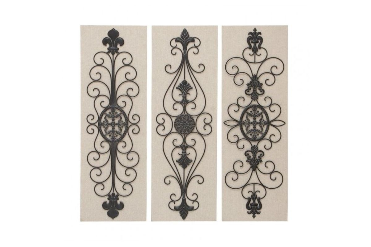 French Inspired Wrought Iron Wall Panel (Set Of 3) At